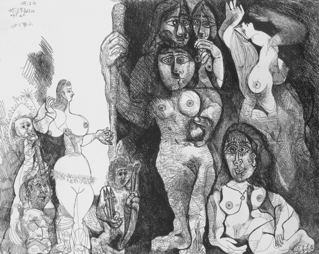 Pablo Picasso, 'Le théatre de Picasso: Eros et les femmes (Picasso's Theater: Eros and Women)', 1970, Print, Etching and scraper, R. S. Johnson Fine Art
