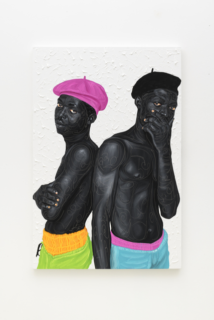 Otis Kwame Kye Quaicoe, 'Beret Boys 2', 2021, Painting, Oil on canvas, Roberts Projects