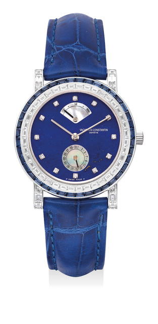 Vacheron & Constantin, 'A very fine and elegant lady's white gold wristwatch with diamond and sapphire-set bezel, diamond-set numerals, lapis lazuli and mother-of-pearl dial, date, power reserve, International Warranty and presentation box', 1997, Phillips