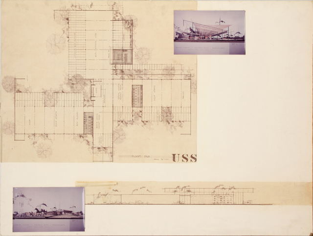 , 'Presentation panel for Youth Center, Fairless Hills, PA, with vintage original photographs and reproductions of floor plan,' ca. 1950, Edward Cella Art and Architecture