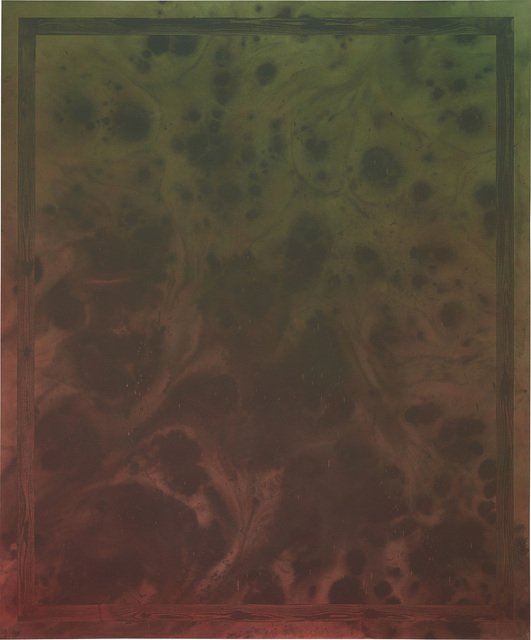 Sayre Gomez, 'Untitled Painting in Red Over Green w/ Painted Faux Wood Grain Frame', 2014, Phillips