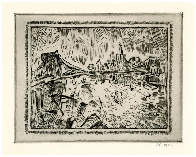 , 'Brooklyn Bridge and Lower New York,' 1913, Harris Schrank Fine Prints