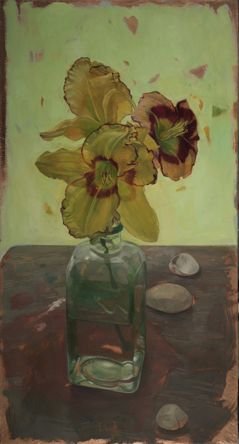 , 'Day  Lilies on Wooden Table,' 2017, LeMieux Galleries