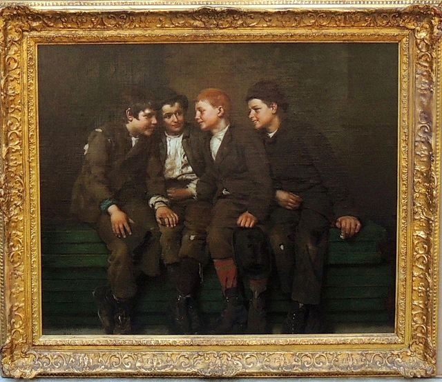John George Brown, 'The Confab', 1882, Painting, Oil on Canvas Mounted on Board, The Illustrated Gallery