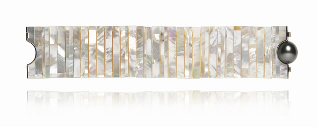 , 'Mother of Pearl Tile thin bracelet,' 2016, Petronilla Silver