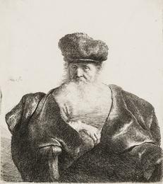 An Old Man with Beard, Fur Cap and Velvet Coat