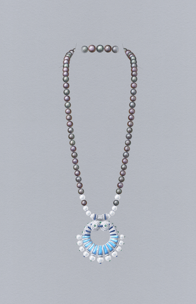 Poema long necklace with detachable clip, 2020. White gold, sapphires, emerald, white and gray cultured pearls, turquoise, diamonds. High Jewelry Collection.