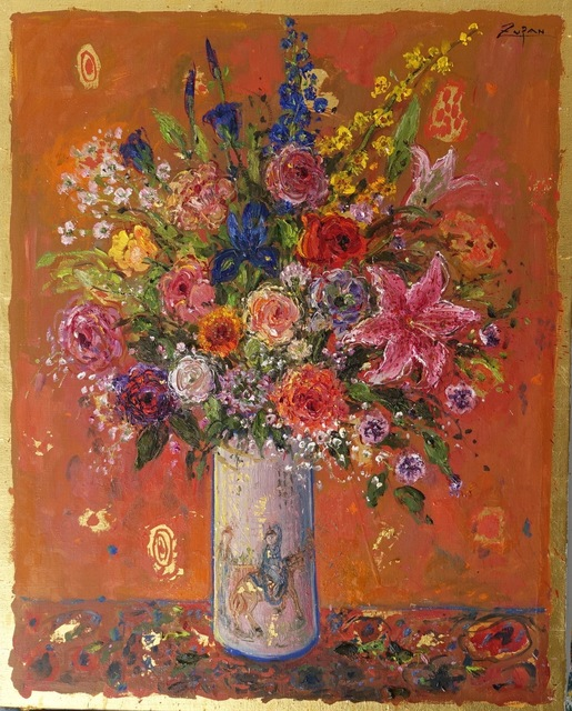 , 'Bouquet on Chinese Red Ground,' 2018, Galerie d'Orsay