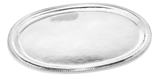 Oval sterling silver dish with beaded rim and hammered surface.