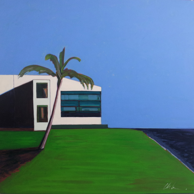 Melissa Chandon, 'Post Modern House with Indigo Ocean', 2012, Painting, Acrylic on panel, Tasende Gallery