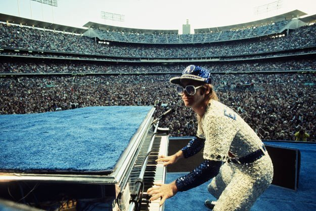 , 'Elton John Dodger Stadium, Playing Piano,' 1975, Mouche Gallery