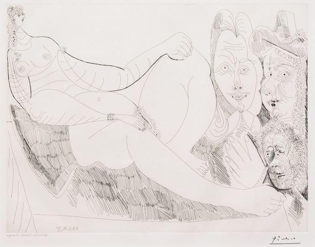 Pablo Picasso, 'Femme au Lit avec Visiteurs..., from the 156 Series', 1971, Leslie Sacks Gallery