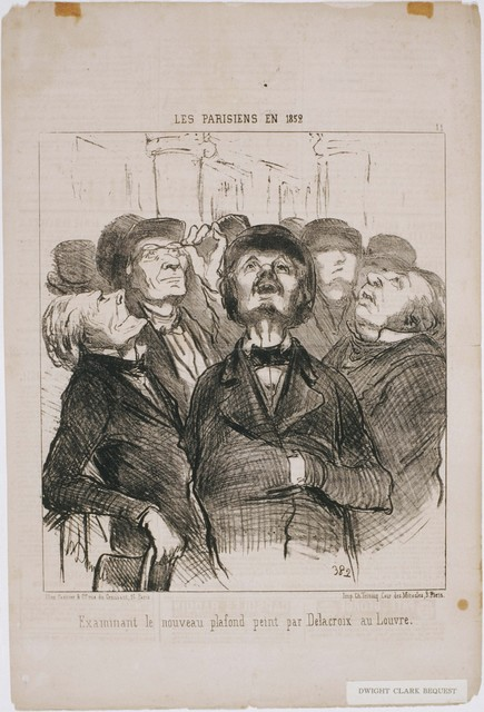 Honoré Daumier, 'Les Parisiens en 1852: Examinant le nouveau plafond...Par Delacroix', 1852, Phillips Collection