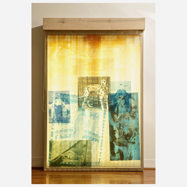 Robert Rauschenberg, 'Sling-Shots Lit #8', 1985, Mixed Media, Lightbox Assemblage; Composed of screen-print in colors on sailcloth and mylar sheets,wooden lightbox, fluorescent light, and moveable window shades., Artsy x Rago/Wright