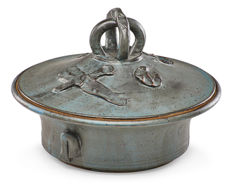 Ceremonial Ashanti Tureen, gunmetal and blue glaze