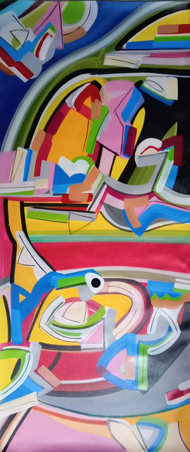 """Amit Kalla, 'Transending Forms, Abstract Painting, Acrylic on canvas, Band of colors by Amit Kalla """"In Stock""""', 2019, Gallery Kolkata"""