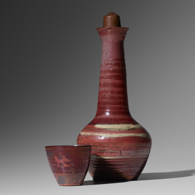 Loloma Pottery, 'stoppered bottle and cup', 1949, Wright