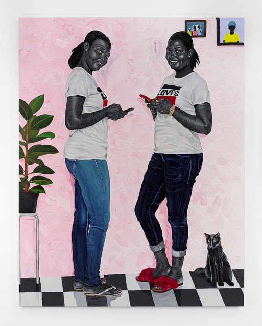 Otis Kwame Kye Quaicoe, 'Miriam & Mabel', 2021, Painting, Oil and fabric appliqués on canvas, Roberts Projects