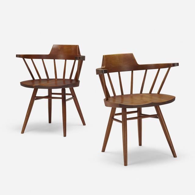 George Nakashima, 'Captain's chairs, pair', 1956, Wright