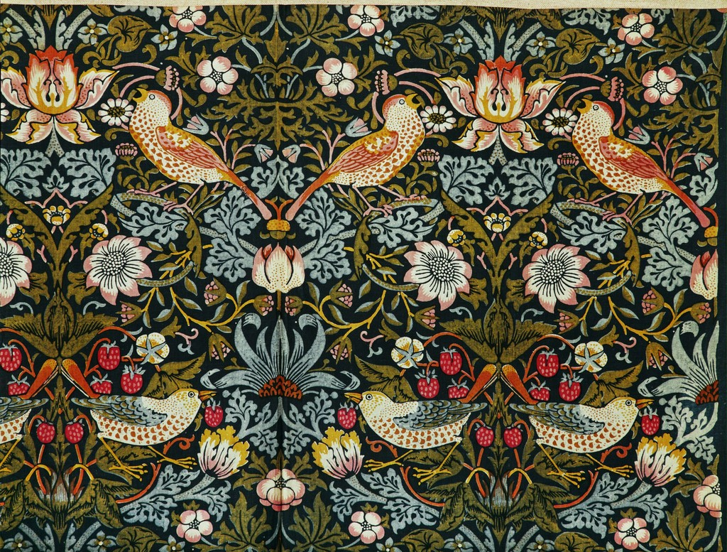 Image result for William Morris (1834-1896) The Strawberry Thief (Flower and Bird Pattern), 1884 The Victoria and Albert Museum, London