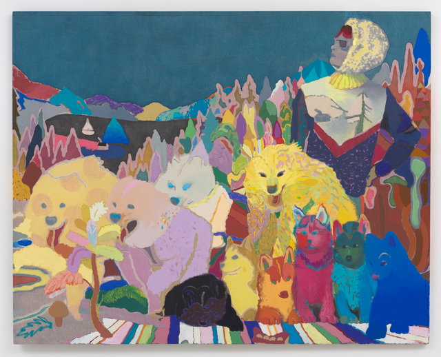 Leon Benn, 'Weekend Musher', 2015, Painting, Oil, oil pastel, dye, bleach, faux-batik and rabbit-skin glue on hand-woven Moroccan fabric, David B. Smith Gallery