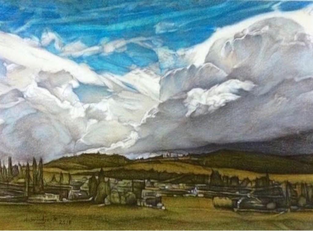 Unsettled Sky ~ Coloured Pencils ~ Darrell Windjack