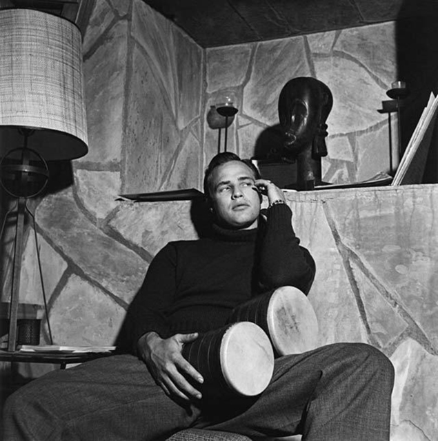 , 'Marlon Brando with bongo drums at his Beverly Hills home,' 1955, Staley-Wise Gallery