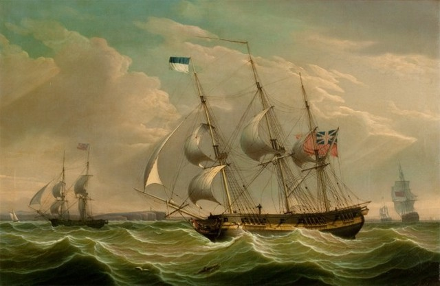 Robert Salmon, 'A British Armed Sloop and Auxiliary Brig', 1808, Painting, Oil on canvas, Questroyal Fine Art