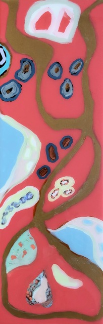 """Anne Harney, '""""Coral Lagoon I"""" Abstract mixed media painting with gold-leaf, carol and blues', 2019, Eisenhauer Gallery"""