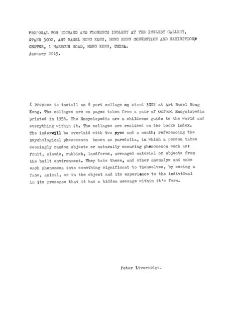 , 'Proposal for Art Basel Hong Kong (Index) 2015,' 2015, Ingleby Gallery