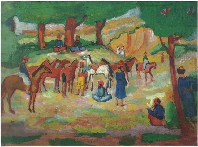 August Macke, 'Encamped Oriental Horsemen (after Guys) (Lagernde Orientalische Reiter (nach Guys))', 1910, Galerie Thomas