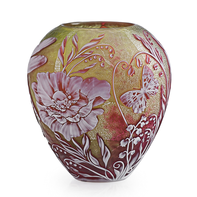 Jonathan Harris, 'Vase With Dragonfly, Butterfly And Flowers, England', 2000, Design/Decorative Art, Acid-Etched Cameo Glass, Foil Inclusions, Rago/Wright