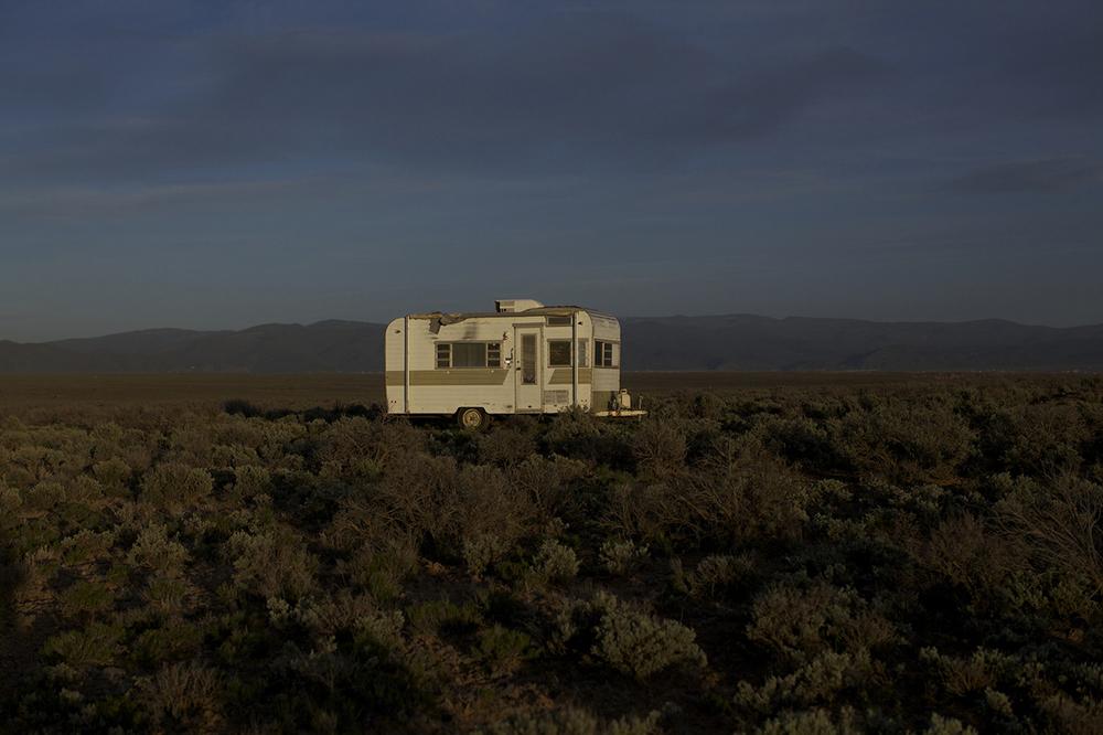 Debbie Long, 'Naima Trailer, Taos Mesa'. Photo: Wendy Shuey. Trailer, 2013, Trailer, Plywood, Light, Glass. 9 x 18 x 7.5 feet