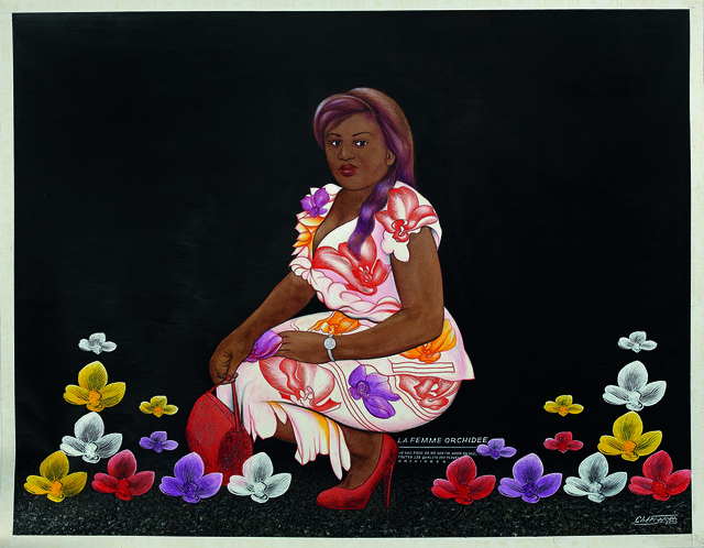Chéri Samba, 'La femme orchidée', 2003, Painting, Oil and glitter on canvas, Magnin-A