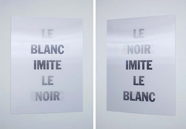 , 'Le Blanc Imite Le Noir (shown from two angles),' 2010, Lisa Sette Gallery