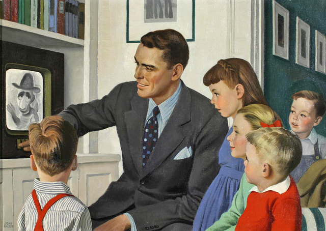 , 'Father and children in front of TV ,' ca. 1950, Robert Funk Fine Art