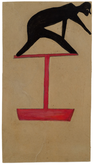 , 'Untitled (Black Figure Leaning on Red Construction),' 1939-1942, Fleisher/Ollman