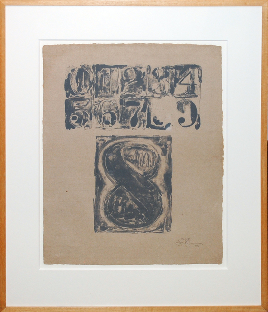 Jasper Johns, '0-9: Plate 8', 1963, Print, Original Working Proof Lithograph in gray, on Angoumaois paper, Contessa Gallery