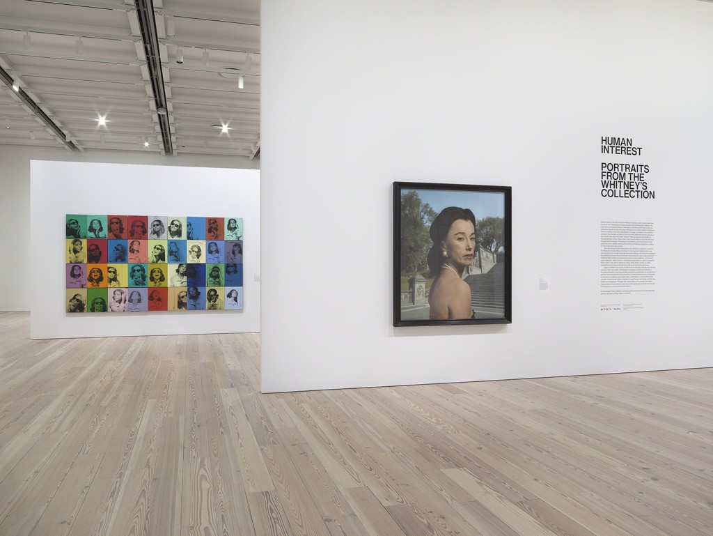 Installation view of Human Interest: Portraits from the Whitney's Collection (April 6, 2016-April 1, 2017, Whitney Museum of American Art, N.Y.). left to right: Andy Warhol Ethel Scull 36 Times, 1963 (86.61a-jj) and Cindy Sherman Untitled, 2008 (2009.46a-b). Photograph by Ronald Amstutz.