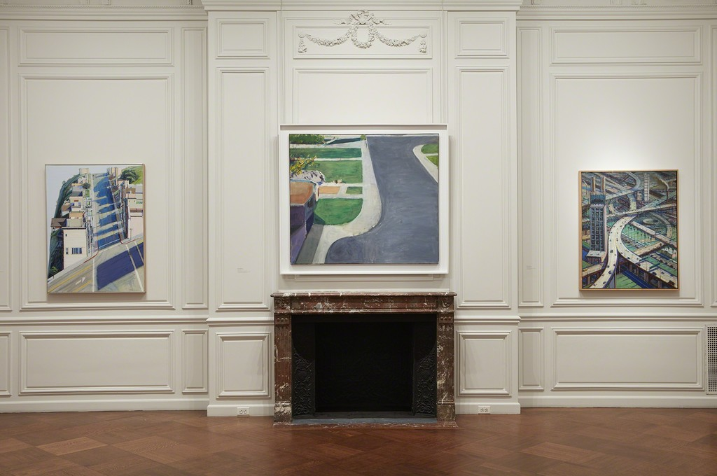 Left to Right: Wayne Thiebaud, Ripley Ridge, 1977, Private Collection; Richard Diebenkorn, Cityscape #4, 1963/66, Private Collection courtesy of Van Doren Waxter and Miles McEnery Gallery, New York; Wayne Thiebaud, Urban Freeways, 1979, Private Collection; Photo by Kent Pell, Art © Wayne Thiebaud / Licensed by VAGA, New York, NY, Art © Richard Diebenkorn Foundation