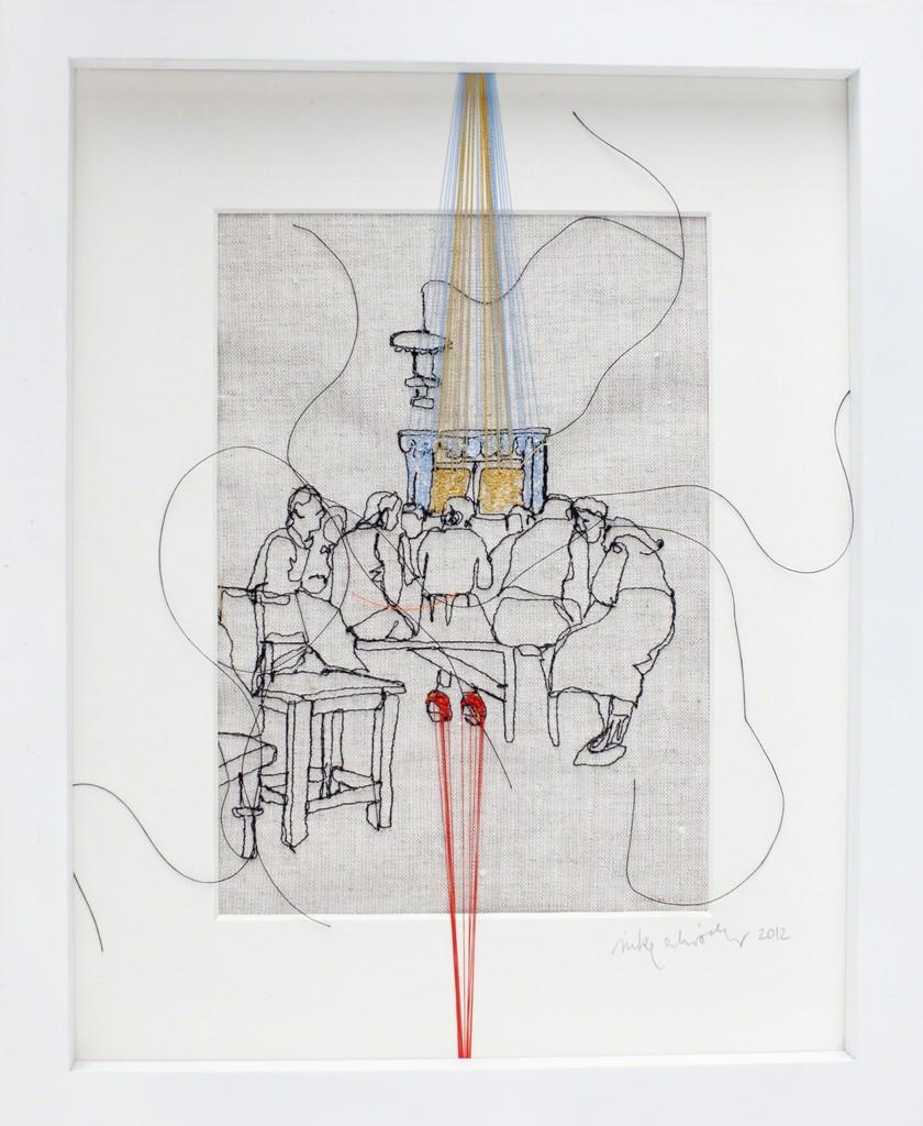 """Nike Schröder: """"Fundamental Reports N°12"""", 2012, yarn on canvas, frames, 27,5 x 22,5 x 3 cm"""