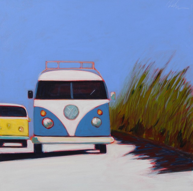 , 'VW Busses in Blue and Yellow,' 2017, Caldwell Snyder Gallery