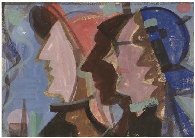 , 'Drei Köpfe im Profil nach links, vor blauem Grund,' 1951, Galerie Doebele