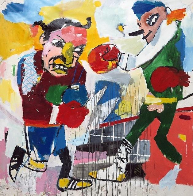 , 'Dos hombres luchan sobre la ciudad,' 2017, Galerie Heike Strelow