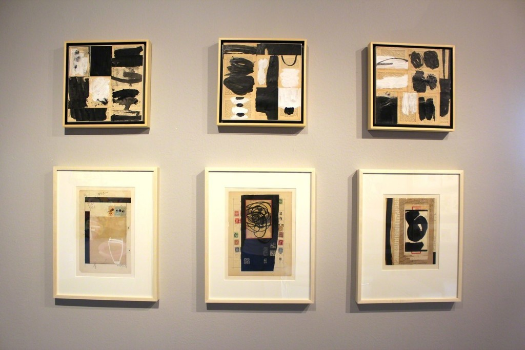 Six collages by Dennis Parlante. Parlante's work is influences by Japanese calligraphy and children's art. His beautiful use of antique papers and gestural markings gives these works an elegant presence.