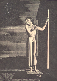 Woman Standing Outside a Door Under a Starry Sky (Starry Sky)