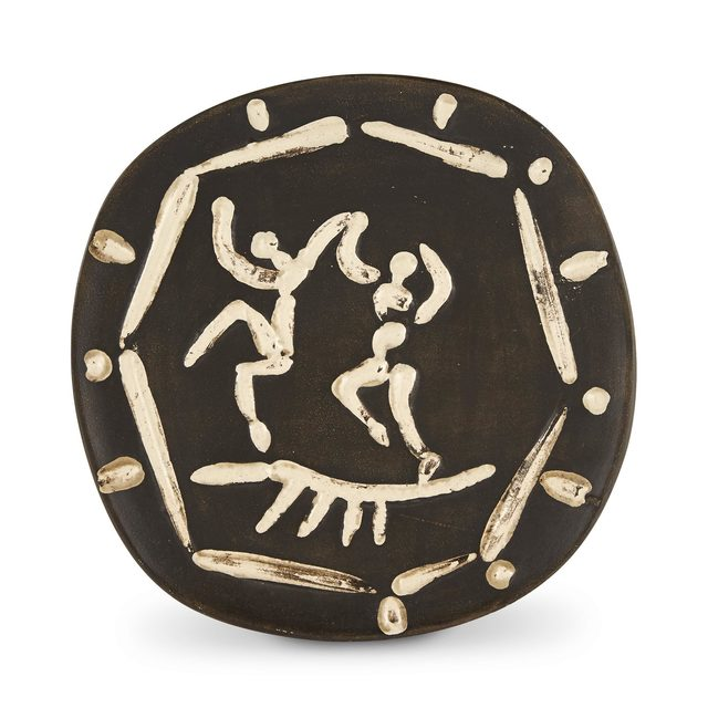 Pablo Picasso, 'DEUX DANSEURS (A.R. 380)', 1956, Design/Decorative Art, Partially glazed white ceramic plate with a black patinated ground, Doyle
