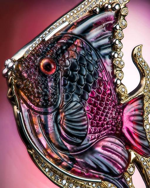 Nathaniel Fyffe, 'Michael Peuster Carved Tourmaline Fish Pendant ', 2018, Jewelry, Carved Madagascar Tourmaline, Diamonds, 18k Gold, The Crown Collection