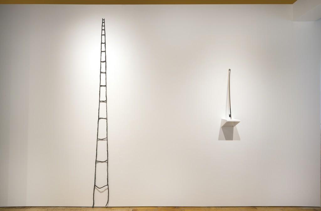 "Artwork by Sonya Clark (Left) ""Hair Ladder"" 2013, (Right) ""Hair Bow (Blonde)"", 2013"