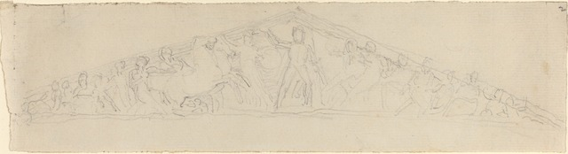 John Flaxman, 'Study for Reconstruction of West Pediment of the Parthenon', in or after 1805, National Gallery of Art, Washington, D.C.
